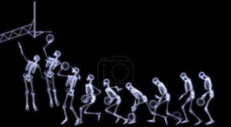 X-Ray rafiography of huan body (skeleton) playing basket ball