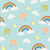 Cute Rainbow Clouds Umbrella and Birds Seamless Background Pattern