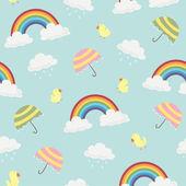 Roztomilý rainbow, mraky, deštník a ptáci bezešvé pozadí vzorek