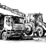 Bulldozer and dump truck...