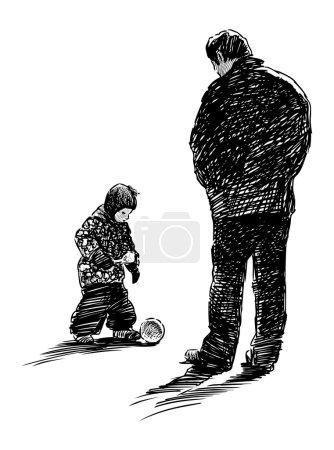Illustration pour Père et fils - image libre de droit
