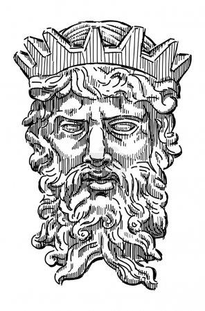Illustration for Head of mythological king - Royalty Free Image