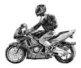 Muž na motorce