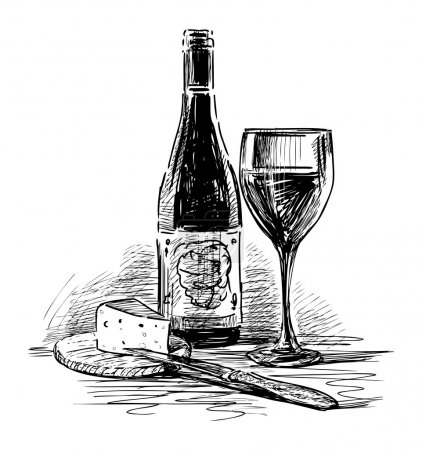 Illustration pour Vin de raisin et fromage - image libre de droit