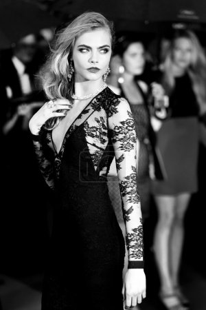 Photo for CANNES, FRANCE - MAY 15: Model Cara Delevingne attends the Opening Ceremony and premiere of 'The Great Gatsby' during the 66th Annual Cannes Film Festival at Palais des Festivals on May 15, 2013 in Cannes, France. - Royalty Free Image