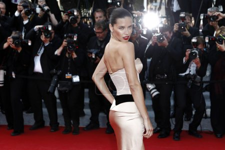 Foto de Cannes, Francia - 18 de mayo: adriana lima asiste a estreno de 'la homesman' durante el festival de cine de cannes 67 de 18 de mayo de 2014 en cannes, Francia - Imagen libre de derechos