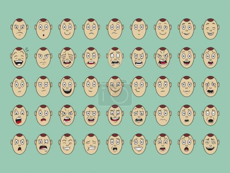 Illustration for Collection of vector  emotion face on paper - Royalty Free Image