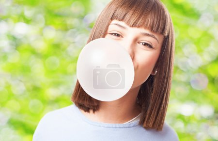 Girl doing with chewing gum