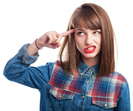 Photo for Portrait of young woman doing crazy symbol gesture on white - Royalty Free Image