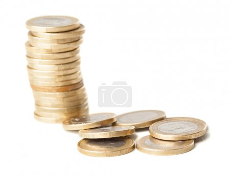 Euro coins isolated on a white background