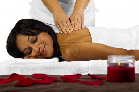 Black woman getting massage