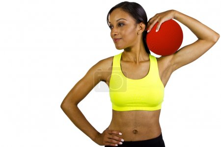 Woman with dodgeball