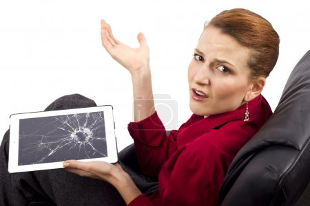 Photo for Complaining about a broken tablet screen - Royalty Free Image