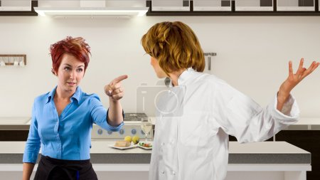 Chef and waitress fighting in the kitchen