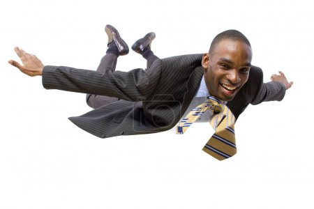 African american businessman flying
