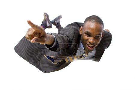 African american businessman flying