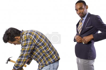 Photo for Businessman is stealing money from worker - Royalty Free Image
