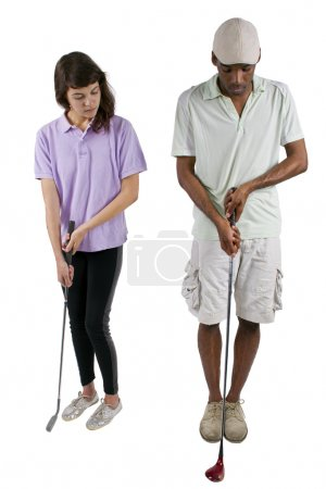 Photo for Golf instructor with a teenager student on white background - Royalty Free Image