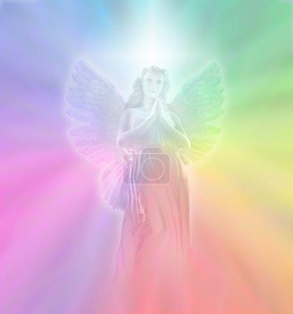 Photo pour Fond de couleur arc-en-ciel pastel doux avec vision douce ange partiellement transparente - image libre de droit