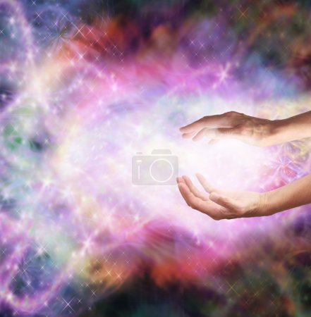 Photo for Healer's hands outstretched into magical healing energy field - Royalty Free Image