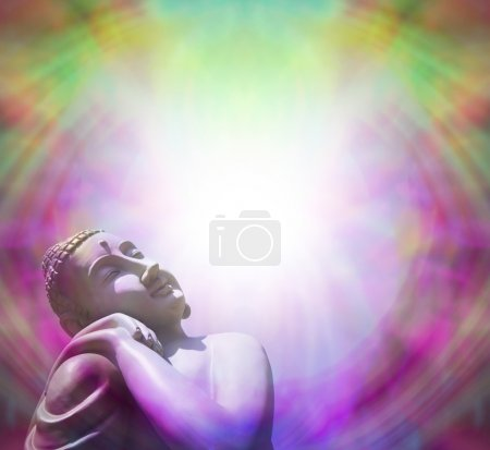 Photo for Peaceful Buddha in left corner basking in sunlight on a purple and green misty background forming a frame - Royalty Free Image