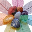 Close up of Chakra crystals laid on skeleton leave...