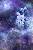 Anděl strážný na pozadí vesmíru modrá