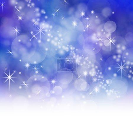Foto de Fondo efecto azul noche estrellada con destellos y bokeh - Imagen libre de derechos