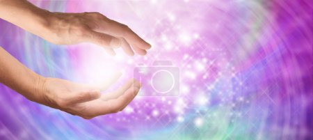 Photo for Healer's outstretched hands with sparkling angelic pink and purple  colored background - Royalty Free Image