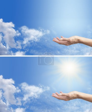 Photo pour Distribuez étiré, détectant l'énergie solaire sur un fond de ciel bleu, avec ou sans sunburst - image libre de droit