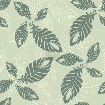 Seamless abstract pattern leaves and feathers