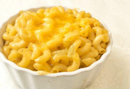 Photo pour Bol de macaronis crémeux et fromage blanc - image libre de droit