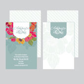 Set of wedding invitations card with floral background