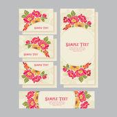 Set of wedding invitations card 01