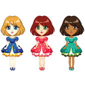 Girls dolls in dresses