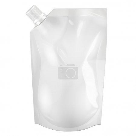 Illustration pour Emballage blanc blanc de Doy-pack, nourriture de feuille de Doypack ou emballage de sac de boisson avec le couvercle de bec de coin. Modèle de paquet en plastique prêt pour votre conception. Vecteur EPS10 - image libre de droit