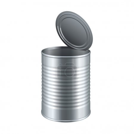 Illustration for Opened Tincan Ribbed Metal Tin Can, Canned Food. Ready For Your Design. Product Packing Vector EPS10 - Royalty Free Image