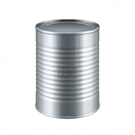 Illustration for Tincan Ribbed Metal Tin Can, Canned Food. Ready For Your Design. Product Packing Vector EPS10 - Royalty Free Image