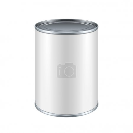 Illustration for White Blank Tincan Metal Tin Can, Canned Food. Ready For Your Design. Product Packing Vector EPS10 - Royalty Free Image