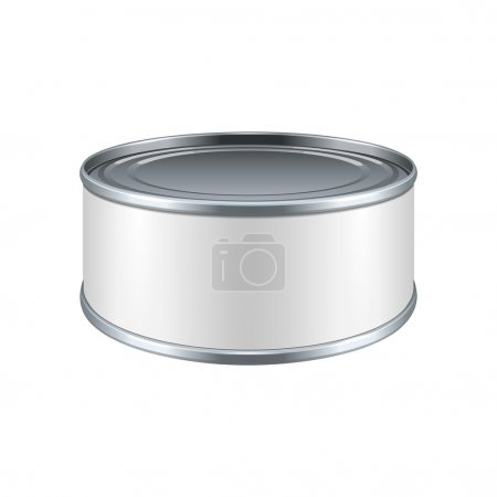 Short Metal Tin Can, Canned Food With White Label