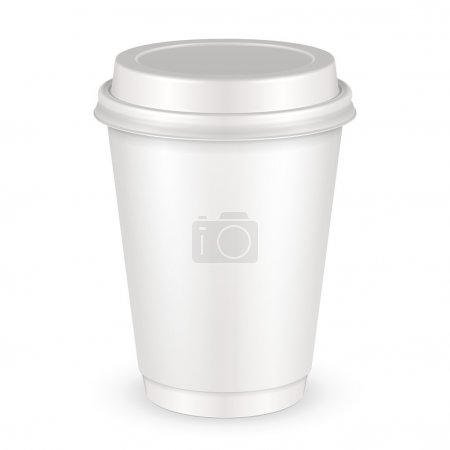 White Disposable Paper Cup With Lid. Container For Coffee, Java, Tea