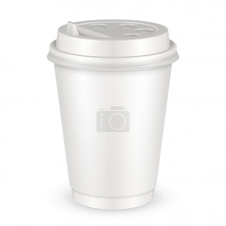 White Disposable Paper Cup With Lid. Container