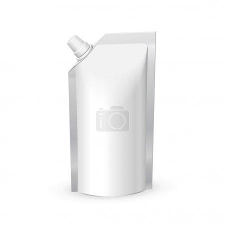 Illustration pour Blanc vide nourriture ou boisson sac de papier d'emballage avec couvercle. modèle de pack plastique prêt pour votre conception. vecteur eps10 - image libre de droit