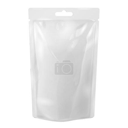 Illustration pour Emballage blanc de nourriture ou de sac de boisson de papier d'aluminium avec l'ampoule de fente de suspension. Modèle de paquet en plastique prêt pour votre conception. Vecteur EPS10 - image libre de droit