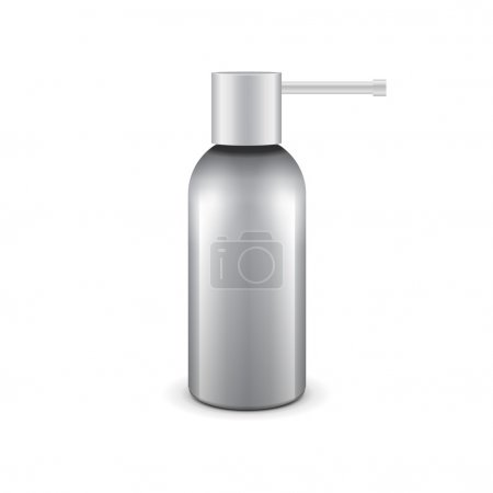 Gray Medical Drags Aerosol Spray Metal 3D Bottle Can: Paint, Graffiti, Deodorant. Ready For Your Design. Vector EPS10