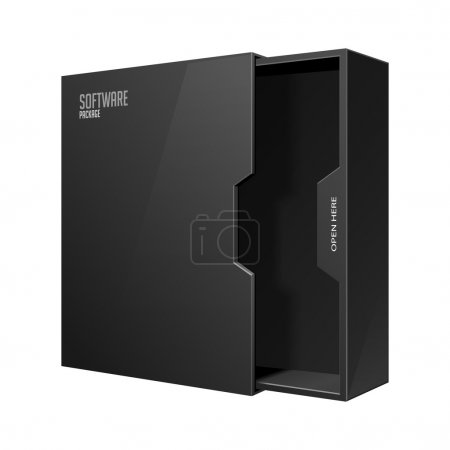 Ilustración de Opened Modern Software Package Box Black With DVD Or CD Disk EPS10 - Imagen libre de derechos