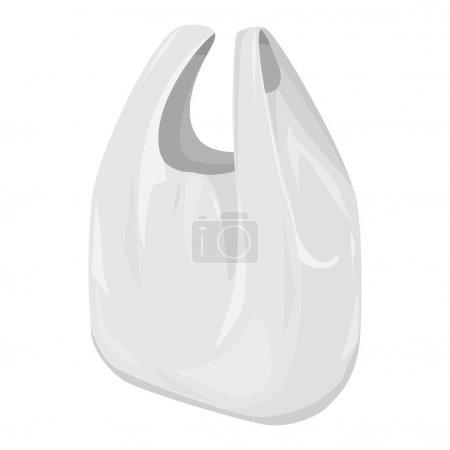 Illustration pour Modèle d'échelle de gris de paquet de sac en plastique de T-shirt jetable. Prêt pour votre design. Vecteur d'emballage des produits EPS10 - image libre de droit