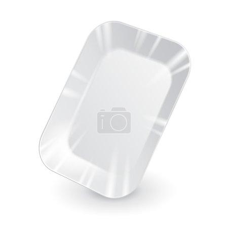 Illustration pour Conteneur en plastique blanc vide pour plateau alimentaire. Blanc sur fond blanc isolé. Prêt pour votre design. Vecteur d'emballage des produits EPS10 - image libre de droit