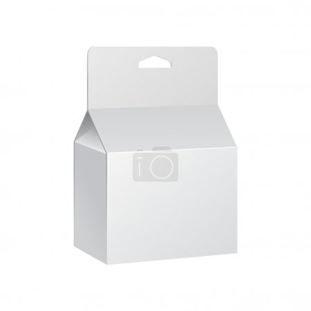 White Product Package Box With Hang Slot. Blank On White Background Isolated. Ready For Your Design. Product Packing Vector EPS10