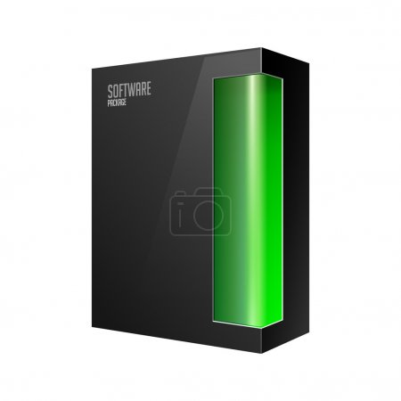 Black Modern Software Product Package Box With Green Window For DVD Or CD Disk EPS10